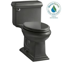 KOHLER Memoris Classic 1-Piece 1.28 GPF Single Flush Elongated Toilet with AquaPiston Flush Technology in Thunder Grey