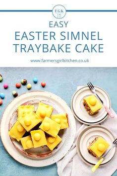 Simnel Traybake Cake is a quick and easy version of the traditional British marzipan topped Simnel Cake served for Mother's Day or at Easter. This gently spiced fruit sponge is perfect to serve for any occasion and can be made ahead of time and frozen #simnel #cake #traybake #sheetpan #British #traditional #Easter #marzipan #fruitcake #easy #recipe