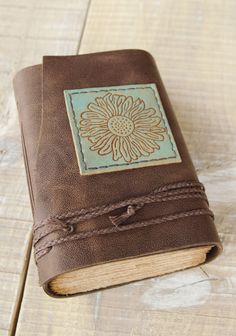 Cuero marrón castaño diario Handbound diario diario por DSBindery