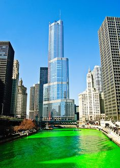 Chicago River - St. Patrick's day- The tradition of dyeing the river green arose by accident when some plumbers used fluorescein dye to trace sources of illegal pollution discharges. The dyeing of the river is still sponsored by the local plumbers union.