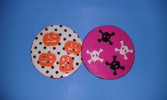 handmade coasters skulls and pumpkins and by HomespunPinup on Etsy, $5.00