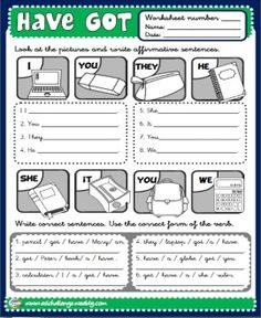HAVE GOT - WORKSHEET 4 (B/W) http://eslchallenge.weebly.com/packs.html