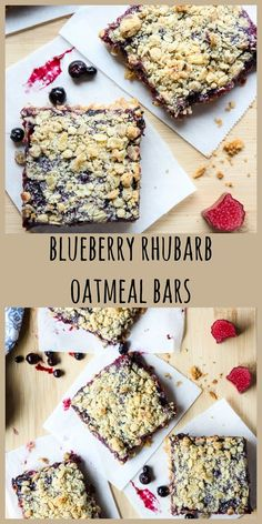 A delicious sweet treat with seasonal fruit and oatmeal. Super simple to make and SO delicious. Rhubarb Oatmeal Bars, Blueberry Oatmeal Bars, Rhubarb Bars, Blueberry Rhubarb, Rhubarb Desserts, Blueberry Recipes, Fruit Recipes, Easy Desserts, Gourmet Recipes