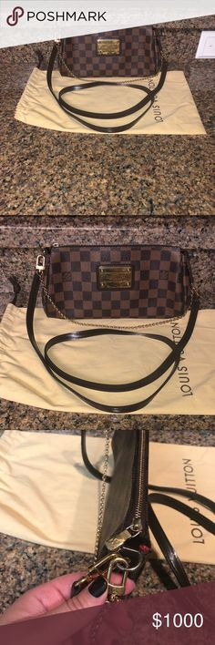 afdae95568e3 Louis Vuitton Louis Vuitton Damier Ebene Eva Clutch/Crossbody Purse.  Authentic. This purse