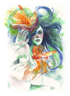 Watercolor, color fineliners and white gel pen.Illustration by Guillem Marí