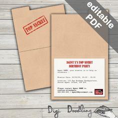 Secret Agent Party Invitations. Spy Party Printable. Editable PDF. Instant Download. by DigiDoodling on Etsy https://www.etsy.com/au/listing/262976348/secret-agent-party-invitations-spy-party