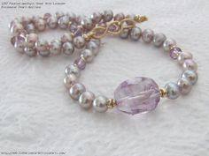 Faceted Amethyst Chunk With Lavender Freshwater Pearl Necklace