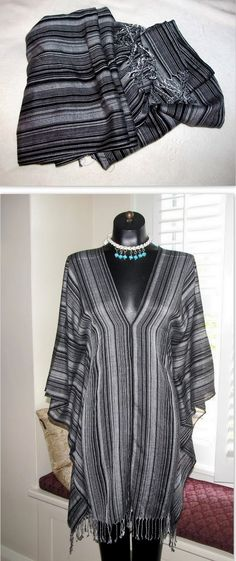 Turn 2 scarves into a poncho, beach coverup, or shirt.