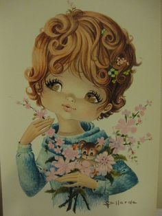 Vintage Spanish postcard of a big eye girlie with flowers and cute teddy bear