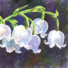 """Akimova: LILY OF THE VALLEY,flower, watercolor and pencils,garden, 5.25""""x4.25"""" #Realism"""