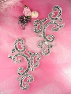 0242 Silver Mirror Pair Sequin Beaded Appliques 6 by gloryshouse, $7.99