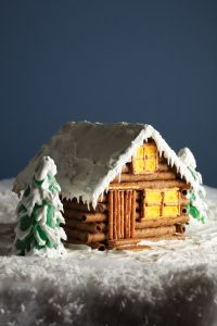 Cozy Cabin made from graham crackers, pirouette cookies, and pretzels Gingerbread Village, Christmas Gingerbread House, Gingerbread Cake, Christmas Cookies, Christmas Foods, Christmas Recipes, Christmas Fun, Graham Crackers, Graham Cracker House