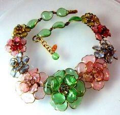 Vintage Authentic CHANEL Gripoix Camellia Necklace