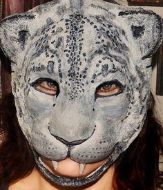 Paper mache mask snow leopard mask Halloween masks Paper mache animal head mask snow leopard mask Masquerade mask snow leopard costume mask