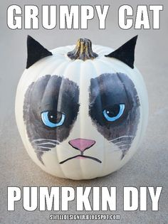 DIY Halloween: DIY Grumpy Cat Pumpkin: DIY Halloween Decor