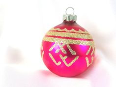 Vintage Shiny Brite Christmas Ornament - Hot Pink with Geometric Gold Glitter Chevrons Holiday Ornament