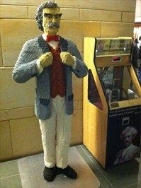 Lego statue of Mark Twain located in the lobby of Mark Twain House Museum, Hartford Ct.