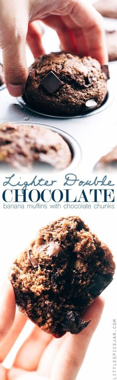 Lighter Double Chocolate Banana Muffins - Easy muffins that are made with whole wheat flour, mashed bananas, and contain NO BUTTER! #doublechocolatemuffins #chocolatemuffins #bananachocolatechipmuffins #muffins | http://Littlespicejar.com