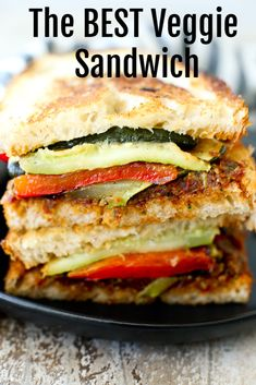 The Best Veggie Sandwich. the BEST Veggie sandwich ever! The BEST Veggie Sandwich is made with roasted vegetables and sun-dried tomato pesto. Vegetarian Recipes Easy, Vegetarian Pesto, Vegetarian Cooking, Healthy Pesto, Cheap Recipes, Mexican Recipes, Healthy Cooking, Clean Eating, Healthy Eating