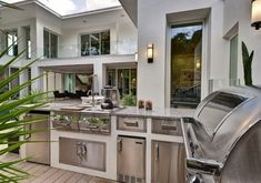 outside kitchen design modern lamps cabinets drawers countertop faucet sink contemporary patio of Marvellous Outside Kitchen Designs to Get Kitchen Design Ideas From Modern Outdoor Kitchen, Modern Deck, Outdoor Kitchen Countertops, Contemporary Patio, Patio Kitchen, Summer Kitchen, Outdoor Kitchens, Contemporary Style, Open Kitchen