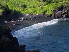Blacksand Beach on Maui, Hawaii