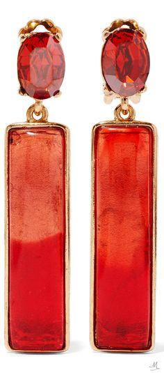 Oscar de la Renta - Gold-plated, Resin And Crystal Earrings - Red Face Earrings, Red Earrings, Gold Plated Earrings, Feather Earrings, Clip On Earrings, Red Jewelry, Crystal Jewelry, Crystal Earrings, Jewelery