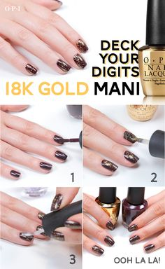 Add some holiday sparkle to your mani with this18KT Don't Speak gold topcoat from OPI! This look pairs it with a pretty deep plum (OPI Parking Only), but we can see it over neutrals as well as Christmas classics like deep red and evergreen!