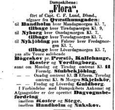 Dampskibet FLORA. Rute i 1851. Kilde: Kiøbenhavns Kongelig alene priviligerede Adresse-Contoirs Efterretninger, 26. juni 1851. http://www2.statsbiblioteket.dk/mediestream/avis