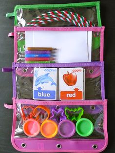 My Traveling Troop: Plane Activities For Kids-insert pencil cases in 3 ring binders for each Kids Travel Activities, Airplane Activities, Road Trip Activities, Infant Activities, Preschool Activities, Toddler Travel, Toddler Fun, Travel With Kids, Diy For Kids