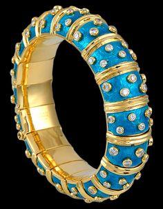 TIFFANY & Co. Schlumberger Diamond Teal Enamel Bangle