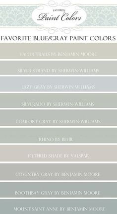"Paint Colors featured on HGTV show ""Fixer Upper"" (Favorite Paint Colors). Paint Colors featured on HGTV show ""Fixer Upper"" Blue Gray Paint Colors, Wall Colors, House Colors, Paint Colours, Playroom Colors, Colour Gray, Neutral Paint, Mount Saint Anne, Magnolia Farms"