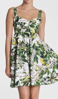 Dolce&Gabbana Lemon Print A-Line Dress. Layer a turtleneck or crewneck and some sweater tights under this cheerful dress on a cold day and smile any winter blahs away!/c