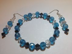 Sparkling Carolina Blue, Black, Clear (Nickel Free)  Glass Crystal Earring Bracelet Set colored rhinestone earrings, faceted