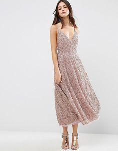 ASOS All Over Embellished Distressed Hem Midi Dress