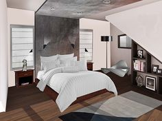 A rendering of the master bedroom for our current modern house project.