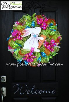 Happy Easter Carrot Wreath Bunny Wreath by poshcreationsKY on Etsy, $65.00