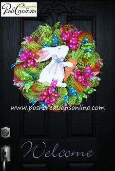 Happy Easter Carrot Wreath Bunny Wreath by poshcreationsKY on Etsy, $65.00