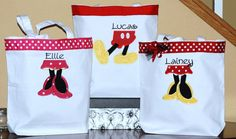 Girls boys personalized Disney Minnie Mouse Mickey autograph vacation canvas tote bag Disney Cruise flowergirl and bridesmaid bag. $26.00, via Etsy.