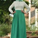 two color green and white hijab woman cloth