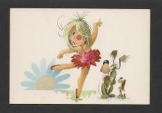 1960years POP ART POSTCARD LOVELY GIRL BALLERINA BALLET & dogs dog