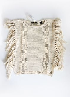 Open Knit Fringe Top