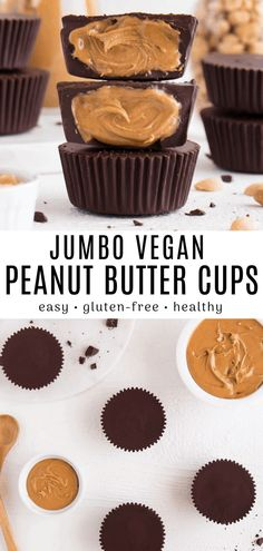 These homemade peanut butter cups are SO delicious and easy to make! This healthy dessert is vegan, gluten-free, and requires only 4 ingredients. # Food and Drink ideas gluten free Homemade Peanut Butter Cups Desserts Végétaliens, Desserts Sains, Vegan Sweets, Healthy Dessert Recipes, Cake Recipes, Vegan Recipes, Vegan Gluten Free Desserts, Food Deserts, Healthy Sweet Treats
