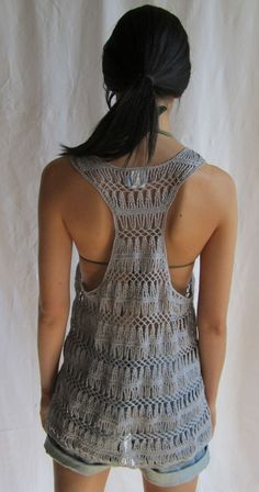Bardot Racerback Top - only if I knew how to crochet! Crochet Tank Tops, Crochet Blouse, Crochet Yarn, Knit Crochet, Hairpin Lace Patterns, Hairpin Lace Crochet, Crochet Woman, Lace Tops, Crochet Clothes