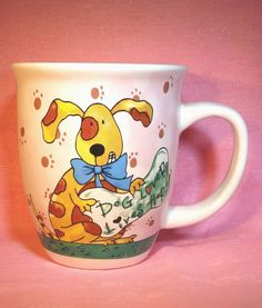 Gibson Dog Lover Lives Here~Pink Mug with Paw Prints & Wears Blue Bow~Tie CUTE!