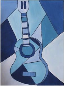 NGD: Picasso's Blue Guitar - The Acoustic Guitar Forum Picasso Kids, Picasso Cubism, Pablo Picasso, Monocromatic Painting, Value Painting, Monochromatic Art, Monochrome, Cubist Paintings, Art Worksheets