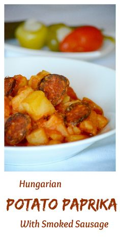 Hungarian potato paprika is one of the most popular peasant dishes of the… Sausage Recipes, Potato Recipes, Beef Recipes, Vegetarian Recipes, Vegetarian Dish, Cooking Recipes, Hungarian Sausage Recipe, Hungarian Recipes, Portuguese Recipes
