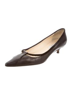 Black leather Jimmy Choo pointed-toe pumps with suede trims and covered kitten heels.