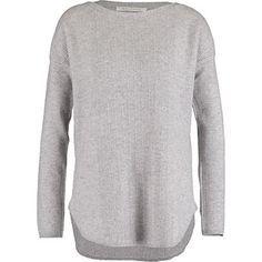 Max Studio Light Grey Chevron Cashmere Sweater