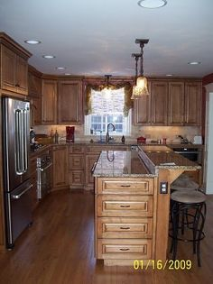 two tiered island- Prep counter is 24 deep; bar counter is 15 deep. Island is 81 long. Kitchen Nook, Kitchen Redo, New Kitchen, Kitchen Design, Kitchen Makeovers, Kitchen Cabinets, Kitchen Layouts With Island, Kitchen Island With Seating, Home Bar Counter