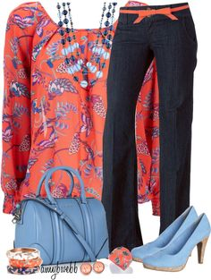 """""""Baby Blue and Coral"""" by amybwebb ❤ liked on Polyvore"""